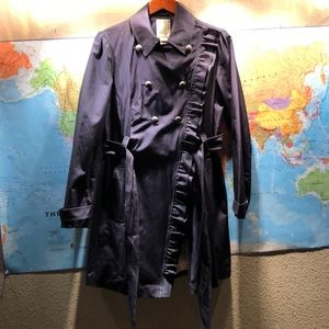 Anthropologie military-style ruffle trench coat